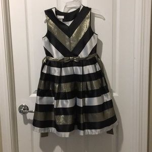 Black, silver, and gold chevron party dress